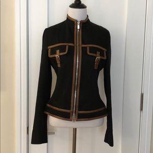 Michael Kors cotton leather trim jacket sz 4